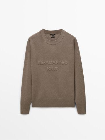 Knit sweatshirt with 3D slogan