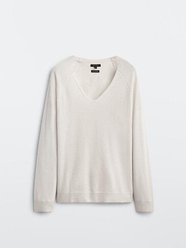 Jersey 100% cashmere cuello pico