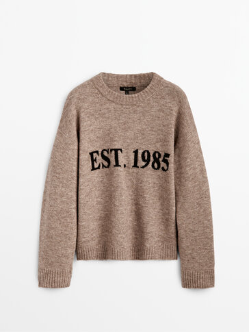 Knit sweater with slogan detail