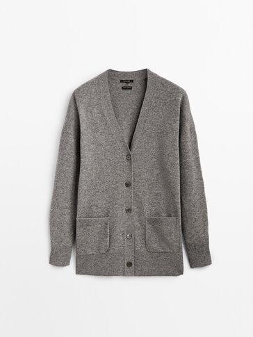 Long cashmere wool knit cardigan