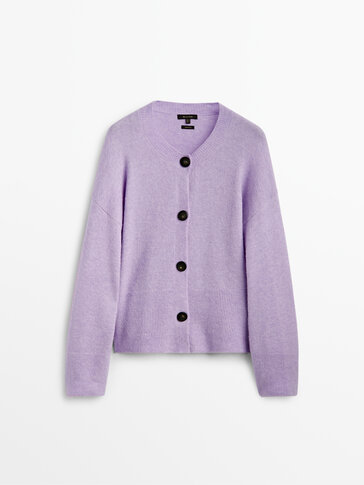 Wool knit cardigan with buttons