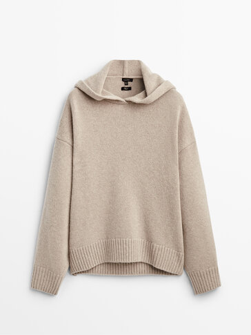 Hooded knit cape sweater