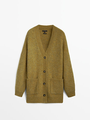 Purl knit cardigan with pockets