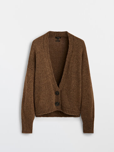 Knit cardigan with two buttons