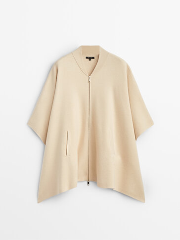 Stand-up collar cape with zip