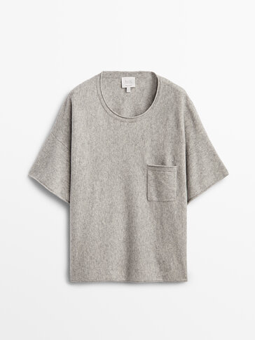 Cashmere wool knit T-shirt