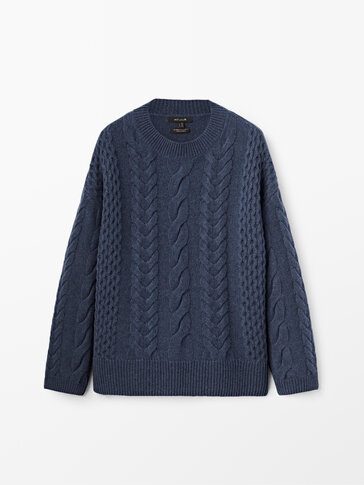 Cashmere wool cable-knit sweater