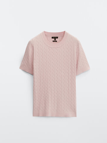 Cable-knit t-shirt