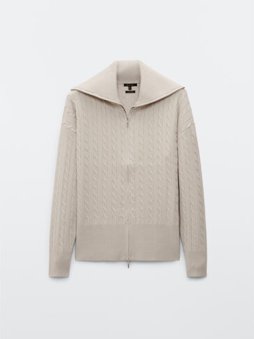 Cable-knit cardigan with zip