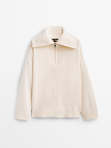Polo collar sweater with zip