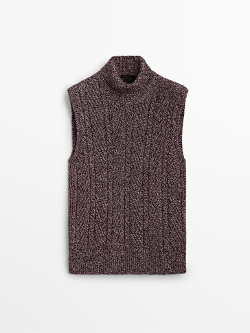 Cable-knit vest with high neck
