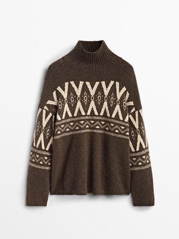 Jacquard high-neck sweater