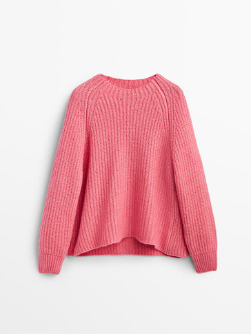 Purl knit sweater with balloon sleeves