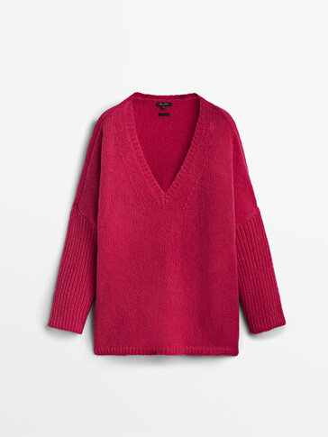 Cape-Pullover mit V-Ausschnitt