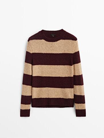 Wide-striped knit sweater
