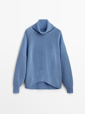 Purl knit wool and cashmere sweater
