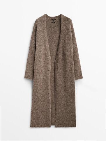 Long mink knit coat