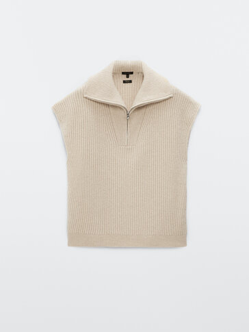 Knit waistcoat with zip