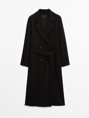 Black crepe trench coat