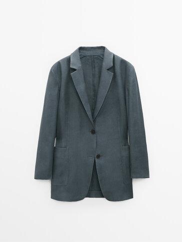 Veste tailleur en lin oversize