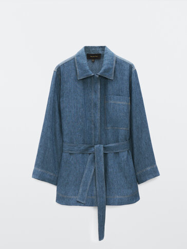 Denim overshirt with belt