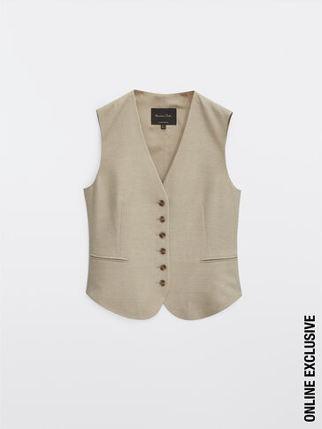 V-neck waistcoat with buttons