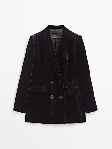 Črn žametni blazer