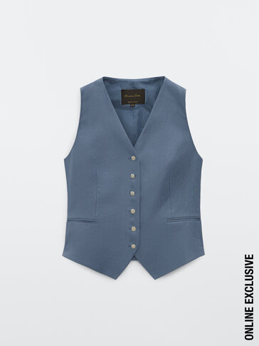 Linen waistcoat with buttons