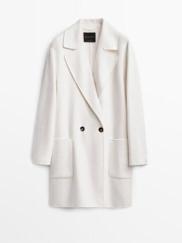 Ecru short wool coat