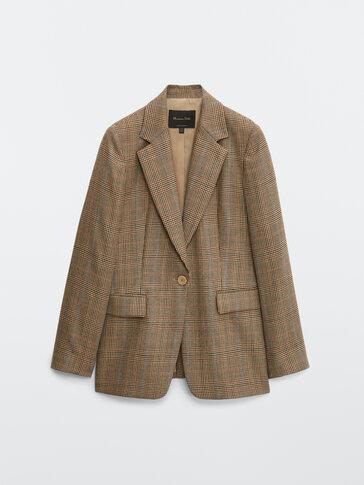 100% wool check blazer