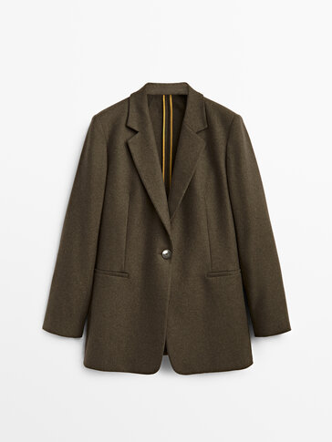 Wool blazer with elbow patches