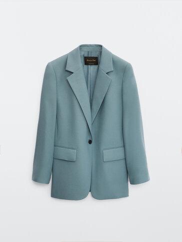 Veste tailleur à un bouton en pure laine