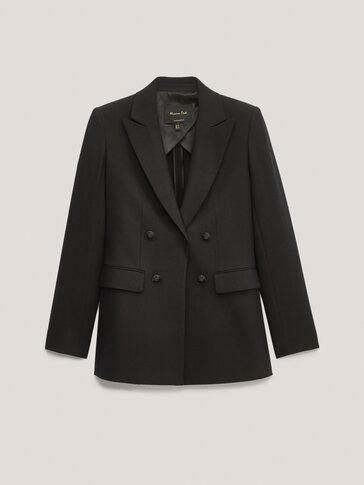 Black mock double-breasted blazer