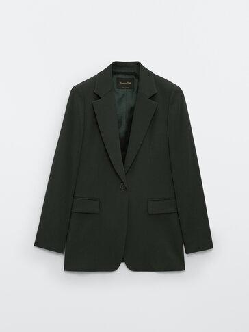 Single-button crepe blazer
