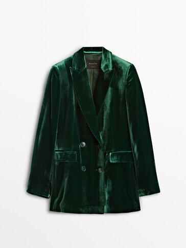 Green double-breasted velvet blazer