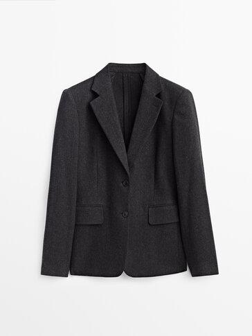 Veste de costume en laine à chevrons