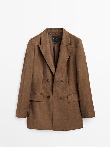 Veste de costume marron en pure laine