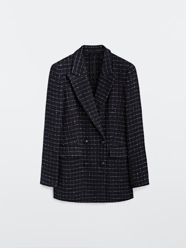 Navy blue double-breasted blazer