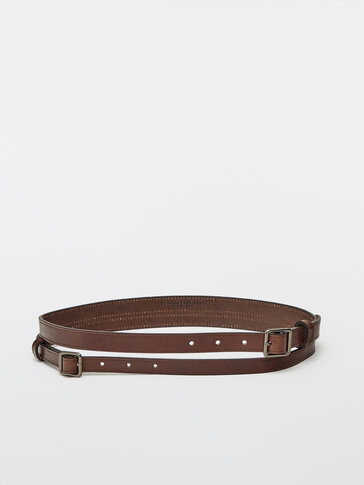 Leather belt with double strap