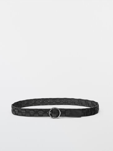 Leather belt with square braiding