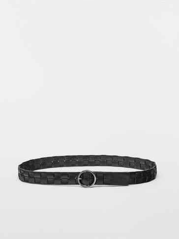 Cinturón piel trenzado cuadrado