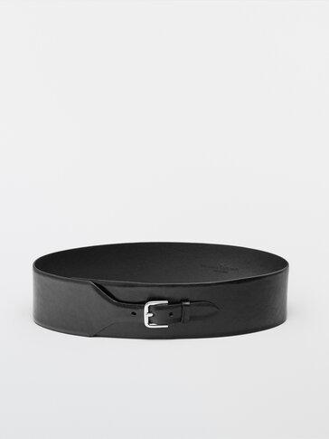 Wide, asymmetric, leather belt