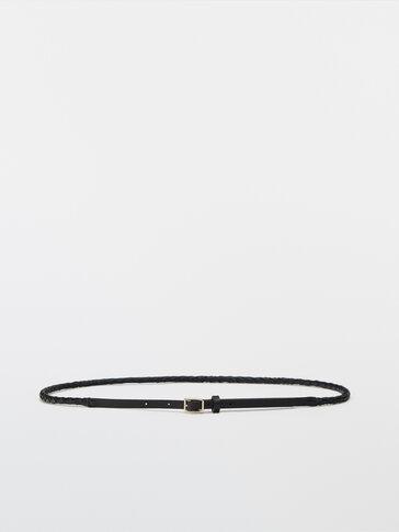 Thin braided leather belt