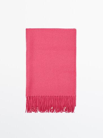 Écharpe là franges 100% laine