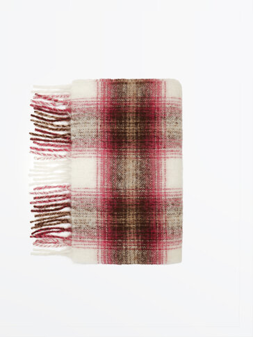 Wool blend scarf with fringing