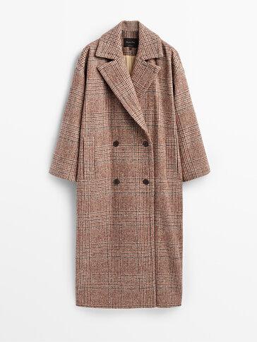 معطف طويل من الصوف بمربعات إصدار محدود