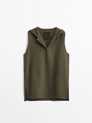 Wool vest with hood