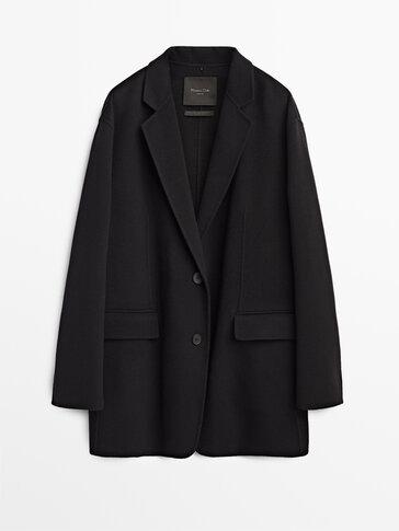 Oversize black wool blazer