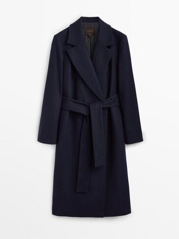 Wool dressing gown coat