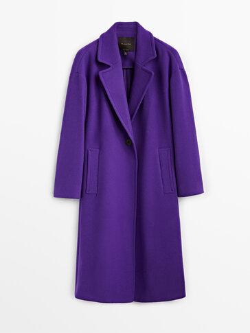 Single-button purple wool coat